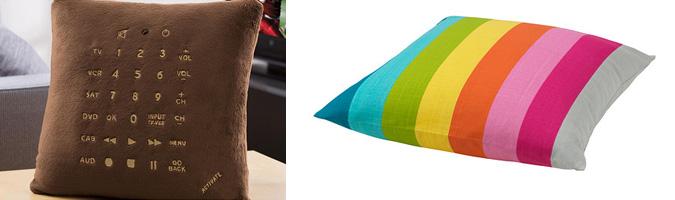 Cuscini per arredare, a strisce colorate o con telecomando incorporato.